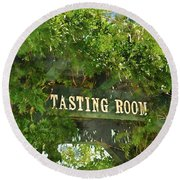 Tasting Room Sign Round Beach Towel