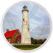 Tawas Point Lighthouse - Lower Peninsula, Mi Round Beach Towel