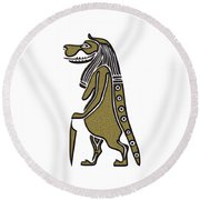 Taweret - Mythical Creature Of Ancient Egypt Round Beach Towel