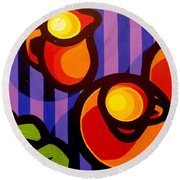 Tea And Apples Round Beach Towel