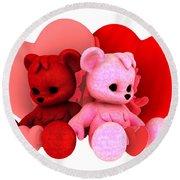 Teddy Bearz Valentine Round Beach Towel