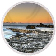 Tessellated Rock Platform And Seascape Round Beach Towel
