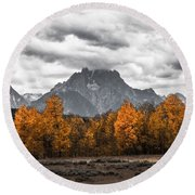 Teton Fall - Modern View Of Mt Moran In Grand Tetons Round Beach Towel