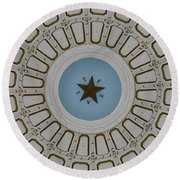 Texas State Capitol - Interior Dome Round Beach Towel