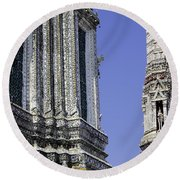 Thailand Temple Architecture Round Beach Towel