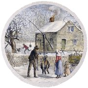 Thanksgiving, 1882 Round Beach Towel