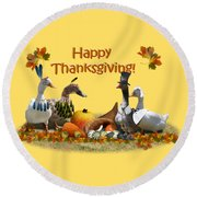 Thanksgiving Ducks Round Beach Towel