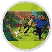 The Adventures Of Tintin Round Beach Towel