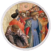 The Annunciation Round Beach Towel by Fra Angelico