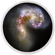 The Antennae Galaxies Round Beach Towel by Stocktrek Images