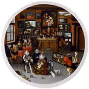 The Archdukes Albert And Isabella Visiting A Collector's Cabinet Round Beach Towel