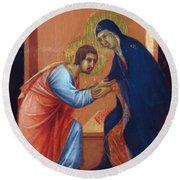 The Arrival Of The Apostles To The Virgin Fragment 1311  Round Beach Towel