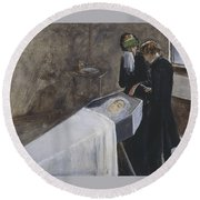 The Artist Attending The Mourning Of A Young Girl Round Beach Towel