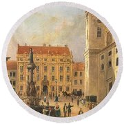 The Austria Fountain On The Freyung In Vienna With Rich Figural Round Beach Towel