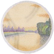 The Banks Of The Marne At Dawn Round Beach Towel