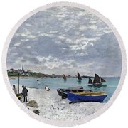 The Beach At Sainte Adresse Round Beach Towel
