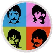 The Beatles Colors Round Beach Towel