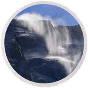 The Beautiful Bridalveil Falls Of Yosemite Round Beach Towel