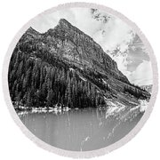 The Beauty Of Lake Louise Bw Round Beach Towel