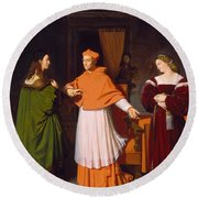 The Betrothal Of Raphael And The Niece Of Cardinal Bibbiena Round Beach Towel