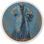 The Blue Girl Round Beach Towel
