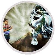 The Boy And The Lion 3 Round Beach Towel