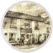 The Bull Pub Theydon Bois Vintage Round Beach Towel