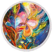 The Butterflies Round Beach Towel