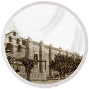 The Campanario, Or Bell Tower Of San Gabriel Mission Circa 1890 Round Beach Towel