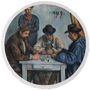 The Card Players Round Beach Towel