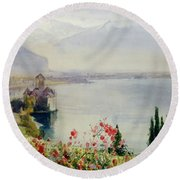 The Castle At Chillon Round Beach Towel by John William Inchbold