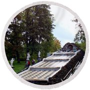 The Chessboard Hill Cascade Fountain On The Grounds Of The Peterhof Palace Round Beach Towel