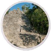 The Church At Grupo Coba At The Coba Ruins  Round Beach Towel