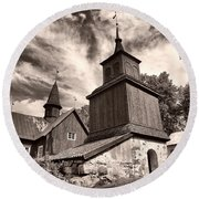 The Church Of Fagervik Round Beach Towel