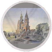 The Church Of The Dormition Round Beach Towel