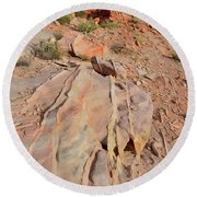 The Color Of Valley Of Fire Round Beach Towel