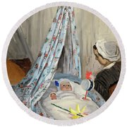 The Cradle - Camille With The Artist's Son Jean Round Beach Towel