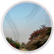 The Creek At The Yoro Waterfall In Gifu, Japan, November, 2016 Round Beach Towel