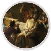 The Crowning With Thorns Of Jesus Round Beach Towel