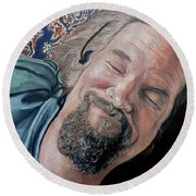 The Dude Round Beach Towel by Tom Roderick