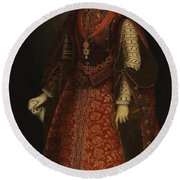 The Empress Isabel Of Portugal Round Beach Towel