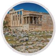 The Erechtheum On The Acropolis, Athens, Greece Round Beach Towel