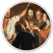 The Executioner With The Head Of John The Baptist Round Beach Towel