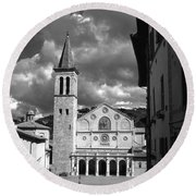 The Facade Of The Duomo With Mosaic And Eight Rose Windows And The Campanile Spoleto Umbria Italy Round Beach Towel