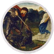 The Fight St George Kills The Dragon  Round Beach Towel