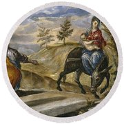 The Flight Into Egypt Round Beach Towel
