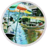 The Floating Market Round Beach Towel