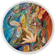 The Flowers And The Fruits Round Beach Towel