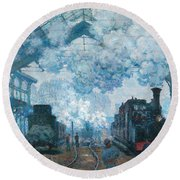 The Gare Saint-lazare Arrival Of A Train Round Beach Towel