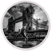 The Girl And The Dolphin - London Round Beach Towel